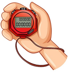 Person using digital stopwatch vector