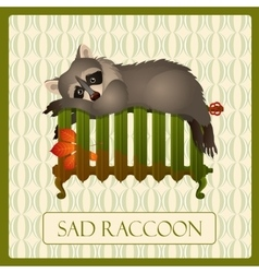 Lonely sad raccoon on the battery tru character vector