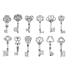 Vintage sketches of antique keys vector