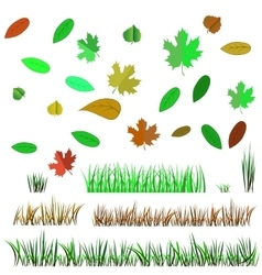 Autumn Leaves and Autumn Grass vector image