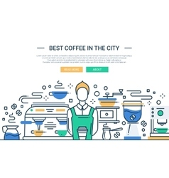 Best coffee shop in the city - website banner vector