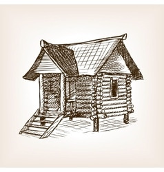 Wooden hut hand drawn sketch vector