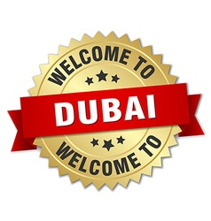 Dubai 3d gold badge with red ribbon vector
