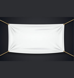 Textile banner with rope isolated on black vector