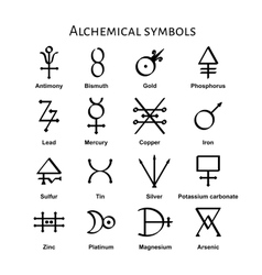 Alchemical symbols vector