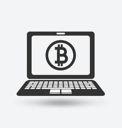 bitcoin symbol on laptop screen vector image vector image