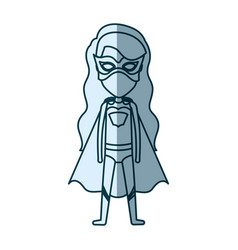 Blue silhouette with standing girl superhero with vector