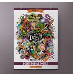 Cartoon doodles design poster template vector