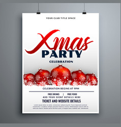 Christmas party celebration flyer design with red vector