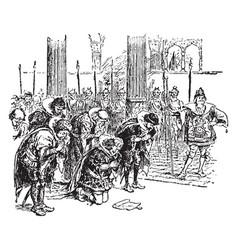 Emperors court vintage vector