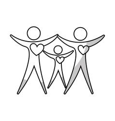 Family silhouette health care icon vector