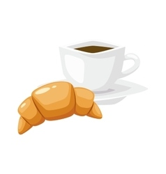 French breakfast croissant food with cup vector