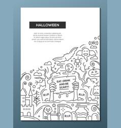 halloween - line design brochure poster template vector image
