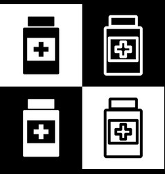 Medical container sign black and white vector