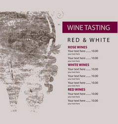 Menu for wine tasting patterned glass and grapes vector