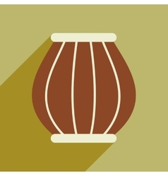 Modern flat icon with long shadow indian basket vector