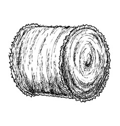 Roll of hay sketch vector