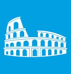 Roman colosseum icon white vector