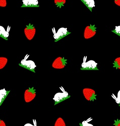 Seamless pattern white bunny and strawberries vector