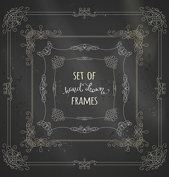 set of chalk calligraphic frames vector image