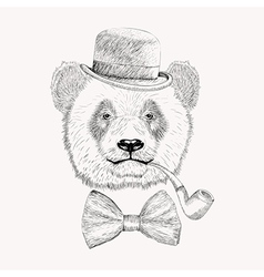Sketch panda face with black bowler hat bow tie vector