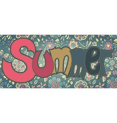 text Summer with floral multicolored background vector image vector image