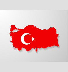 Turkey flag map with shadow effect vector