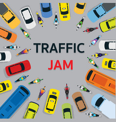 vehicles on road with traffic jam top or above vector image vector image