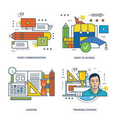 Video communication back to school courses vector