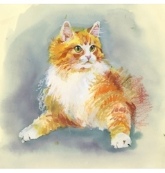 Watercolor hand drawn cat vector