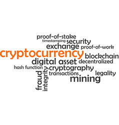 word cloud - cryptocurrency vector image vector image