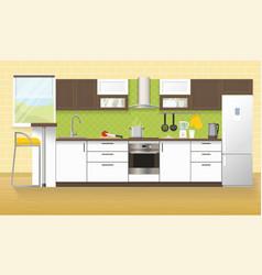 Modern kitchen interior vector