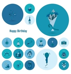 Happy birthday icons set vector