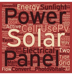 Solar panels pvs at work text background wordcloud vector