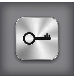 Key icon - metal app button vector image