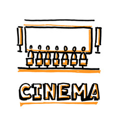 People sitting in cinema hall word cinema vector