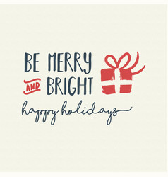 Merry christmas holiday lettering vector
