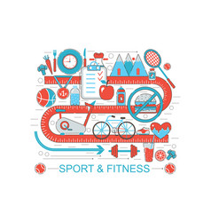 Modern flat thin line design healthy fitness and vector