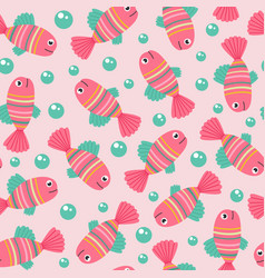 seamless pattern with pink fish vector image