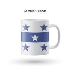 Gambier islands flag souvenir mug on white vector