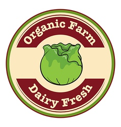 An organic farm and dairy fresh label vector image