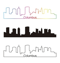 Columbus skyline linear style with rainbow vector