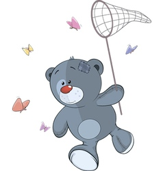 The stuffed toy bear cub and butterfly net cartoon vector