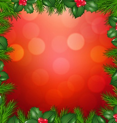 Xmas Fir Tree Border With Holly Berry vector image