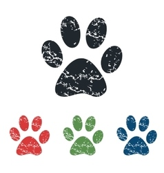 Paw grunge icon set vector