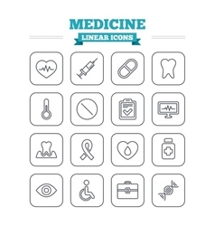 Medicine linear icons set thin outline signs vector