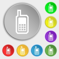 Mobile phone icon sign symbol on eight flat vector