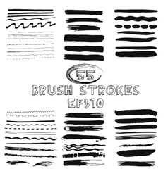 Set of hand drawn grunge brush strokes vector