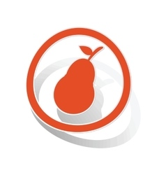 Pear sign sticker orange vector