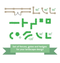Set of fences and hedges vector